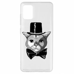 Чехол для Samsung A51 Black and white cat intellectual