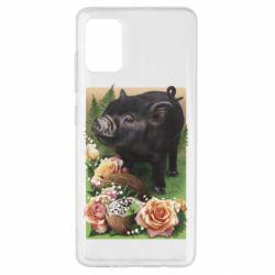 Чехол для Samsung A51 Black pig and flowers