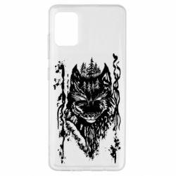 Чехол для Samsung A51 Black wolf with patterns