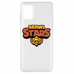 Чехол для Samsung A51 Brawl Stars logo orang and yellow
