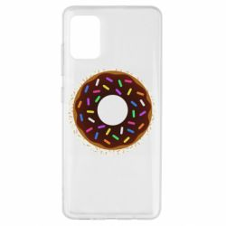 Чохол для Samsung A51 Brown donut on a background of patterns