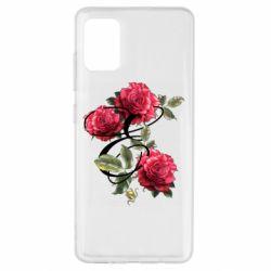 Чехол для Samsung A51 Буква Е с розами