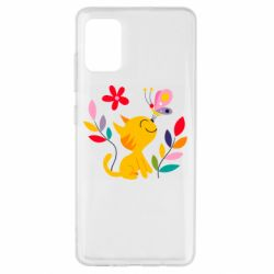 Чехол для Samsung A51 Cat, Flowers and Butterfly