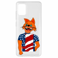 Чехол для Samsung A51 Cat in American Flag T-shirt