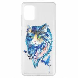 Чехол для Samsung A51 Cat in blue shades of watercolor