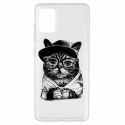 Чохол для Samsung A51 Cat in glasses and a cap