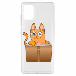 Чехол для Samsung A51 Cat in glasses with a book