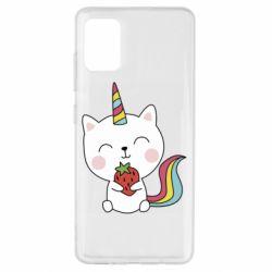 Чохол для Samsung A51 Cat unicorn and strawberries