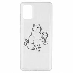 Чохол для Samsung A51 Cat with a glass of wine