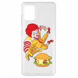 Чехол для Samsung A51 Clown in flight with a burger