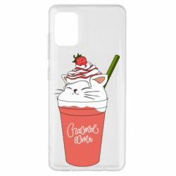 Чехол для Samsung A51 Cocktail cat and strawberry