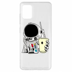 Чехол для Samsung A51 Cosmonaut with a coffee