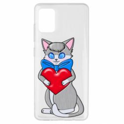 Чехол для Samsung A51 Cute kitten with a heart in its paws