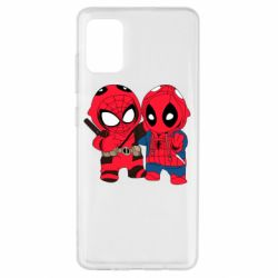 Чехол для Samsung A51 Дэдпул и Человек паук