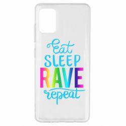 Чохол для Samsung A51 Eat, sleep, RAVE, repeat