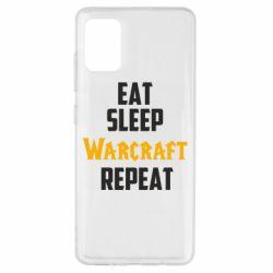 Чехол для Samsung A51 Eat sleep Warcraft repeat