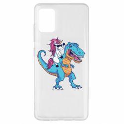 Чохол для Samsung A51 Єдиноріг і динозавр