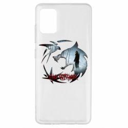Чехол для Samsung A51 Emblem wolf and text The Witcher