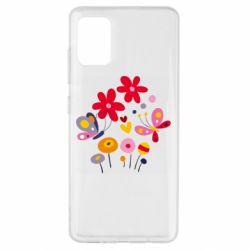 Чехол для Samsung A51 Flowers and Butterflies