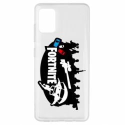 Чехол для Samsung A51 Fortnite logo and heroes