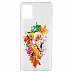 Чехол для Samsung A51 Fox in autumn leaves