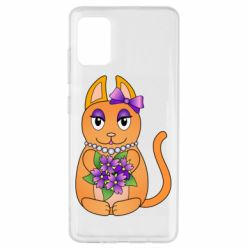 Чехол для Samsung A51 Girl cat with flowers