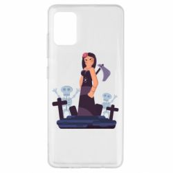 Чехол для Samsung A51 Girl in a cemetery with skeletons