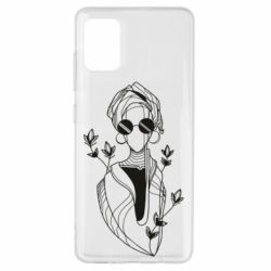 Чехол для Samsung A51 Girl in flowers and glasses
