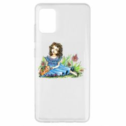 Чехол для Samsung A51 Girl with a kitten in flowers