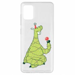 Чехол для Samsung A51 Green llama with a garland