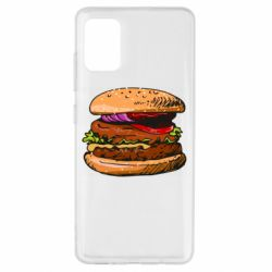 Чехол для Samsung A51 Hamburger hand drawn vector