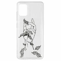 Чохол для Samsung A51 Hand with leafs