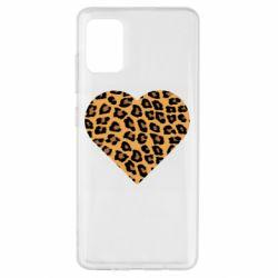 Чехол для Samsung A51 Heart with leopard hair