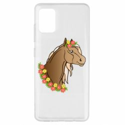 Чехол для Samsung A51 Horse and flowers art