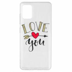 Чохол для Samsung A51 I love you and heart