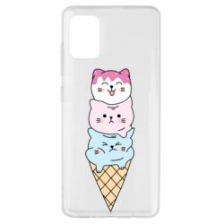 Чехол для Samsung A51 Ice cream kittens