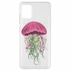 Чехол для Samsung A51 Jellyfish and flowers