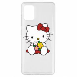 Чехол для Samsung A51 Kitty с букетиком