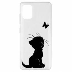 Чохол для Samsung A51 Котик з метеликом
