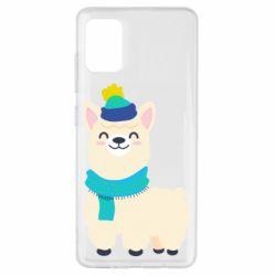Чехол для Samsung A51 Llama in a blue hat