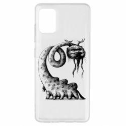 Чехол для Samsung A51 Long-necked Mustachioed Monster