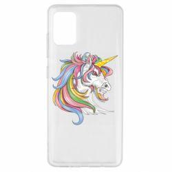 Чохол для Samsung A51 Кінь з кольоровою гривою