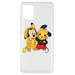 Чехол для Samsung A51 Mickey and Pikachu
