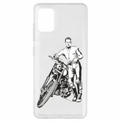 Чехол для Samsung A51 Mickey Rourke and the motorcycle