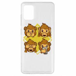 Чехол для Samsung A51 Monkey See Hear Talk