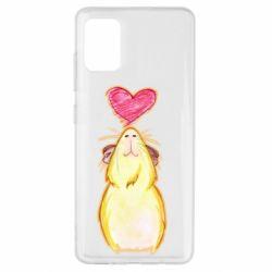 Чохол для Samsung A51 Морська свинка і сердечко