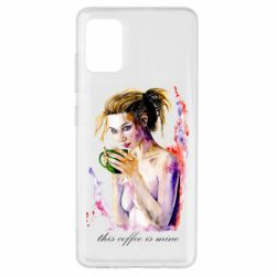 Чехол для Samsung A51 Naked girl with coffee