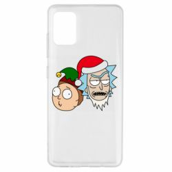 Чехол для Samsung A51 New Year's Rick and Morty