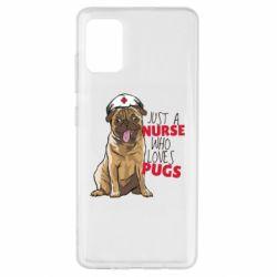 Чехол для Samsung A51 Nurse loves pugs