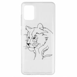 Чехол для Samsung A51 Outline drawing of a lion